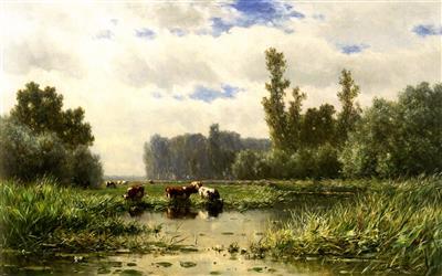 Koeien aan de waterkant bij het Gein; schilderij